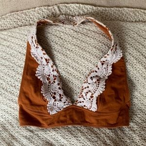 Urban Outfitters Burnt Orange Lace Halter Bralette